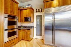 Armários de cozinha e dispositivos de aço Imagens de Stock