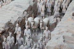 Armé för terrakotta för Qin dynasti, Xian (Sian), Kina Arkivbilder