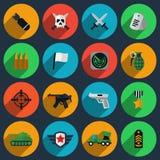 Armé- och krigsymboler royaltyfri illustrationer