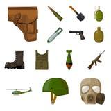 Armé- och rustningtecknad filmsymboler i uppsättningsamlingen för design Vapen och utrustningvektorsymbolet lagerför rengöringsdu Royaltyfria Bilder