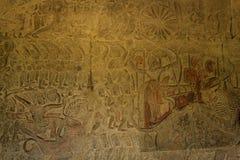 Armébasrelieferna i Angkor Wat Arkivfoto