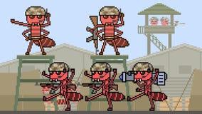 Armée de fourmi d'art de pixel d'animation banque de vidéos