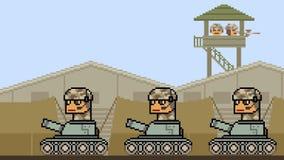 Armée de réservoir d'art de pixel d'animation banque de vidéos