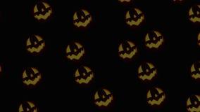 Armée des Jack-o'-lanternes roulant sur le fond noir illustration de vecteur