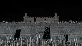Armée médiévale massive de Vikings envahissant dans un château en Alpha Channel illustration de vecteur