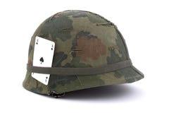 arméerahjälm oss vietnam Arkivbilder