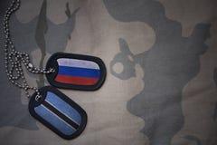 armémellanrum, hundetikett med flaggan av Ryssland och Botswana på den kaki- texturbakgrunden Arkivfoton