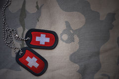 Armémellanrum, hundetikett med flaggan av Schweiz på den kaki- texturbakgrunden Arkivfoto
