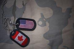 armémellanrum, hundetikett med flaggan av USA och Kanada på den kaki- texturbakgrunden Arkivfoto