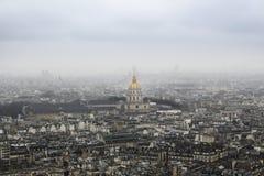 Armémuseum Paris från ovannämnt - från Eiffeltorn, Frankrike arkivfoto