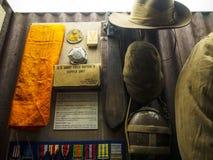 Armésatsutställning i det regements- museet i stadsmuseet i Lancaster England i mitten av staden arkivbild