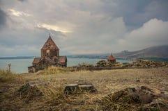 Armênia, complexo do monastério de Sevanavank Vista em igrejas foto de stock royalty free