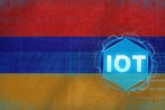Armênia IOT (Internet das coisas) Internet do conceito moderno das coisas fotografia de stock