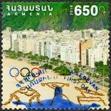 ARMÊNIA - 2016: mostras Copacabana, anéis olímpicos, 31th Jogos Olímpicos, Rio, Brasil Imagem de Stock Royalty Free