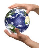 Arm. Hold earth on white isolated Stock Photography
