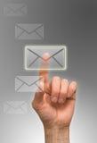 Arm. Man send letter, one finger Stock Photo