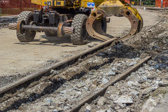 Free Arm And Claw Of An Excavator Resemble Tram Tracks 3 Stock Photography - 44599012