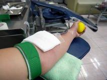 Arm av bloddoner under bloddonation Royaltyfri Fotografi