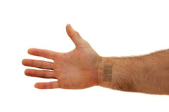 Arm with bar code Stock Photo
