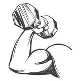Arm, bicep, strong hand holding a dumbbell, icon cartoon hand drawn vector illustration sketch.  Royalty Free Stock Photos