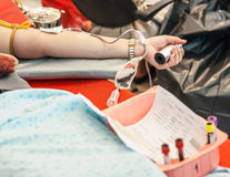 Arm of a blood donator Stock Photography