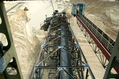Arm of bucket wheel. Sand mining Royalty Free Stock Images