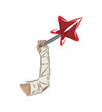Arm in a cast and red star. Sketch styled picture. Arm in a cast and red star Stock Photo