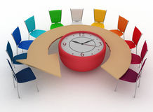 Arm-chair of chief and group of office chairs at a table as an clock Stock Photo