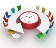 Arm-chair of chief and group of office chairs at a table as an clock put by a half-round. 3d arm-chair of chief and group of office chairs at a table as an clock Royalty Free Stock Photos