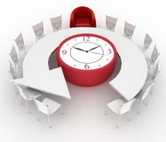 Arm-chair of chief and office chairs at a table as an clock put by a half-round. 3d arm-chair of chief and group of office chairs at a table as an clock put by a Royalty Free Stock Images