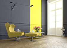 Arm chair. 3d rendering. A modern room with an an arm chair in a luxury apartment. 3d rendering Royalty Free Stock Photography