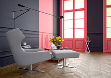 Arm chair. 3d rendering. A modern room with an an arm chair in a luxury apartment. 3d rendering Royalty Free Stock Photos