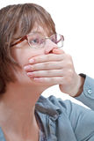 Arm closing mouth - hand gesture Stock Photo