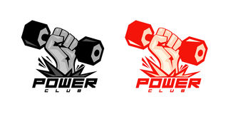 Arm with dumbbell symbols for body-building. Stock Image