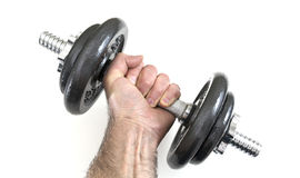 Arm with dumbbells Stock Images