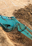 Arm of excavator tractor working Stock Images