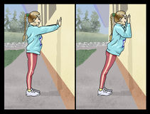 Arm exercise. Illustration of a young girl doing an exercise for the arms Royalty Free Stock Photo