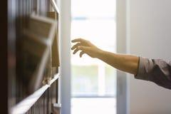 Arm för ` s för affärsman som når för att ta boken från hylla arkivbild