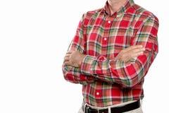 Arm gekreuztes Konzept: erwachsener Mann mit seinen Armen kreuzte lokalisiert auf weißem Hintergrund mit Kopienraum und dem einge stockfotografie