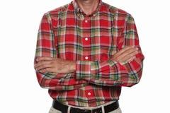 Arm gekreuztes Konzept: erwachsener Mann mit seinen Armen kreuzte lokalisiert auf weißem Hintergrund mit Kopienraum und dem einge lizenzfreies stockfoto
