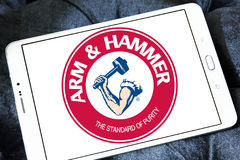 ARM & HAMMER logo. Logo of toothpaste brand ARM & HAMMER on samsung tablet stock photography