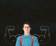 Arm M för lärarkandidat för Nerdgeekaffärsman stark Fotografering för Bildbyråer