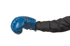 Arm of man in suit with boxing glove Stock Image