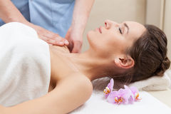 Arm massage in spa room Royalty Free Stock Photos