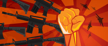 Arm military revolution fist hand symbol retro communism propaganda poster style Royalty Free Stock Photos