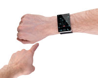 Arm with a modern Internet Smartwatch, isolated on white. All Texts, Icons, Computer Interfaces where created from scratch by myself Stock Photography