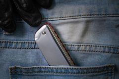 Arm?nica de los azules en el bolsillo de la mezclilla fotografía de archivo libre de regalías