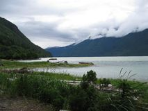 Arm of the ocean scenic. A misty midday on a coastal shore of Bella Coola, B.C. Canada stock photo