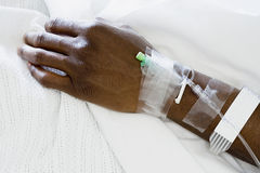Arm of patient with drip Royalty Free Stock Photos