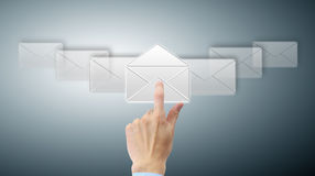 Arm press button in envelope. Icon on touch screen Royalty Free Stock Photos
